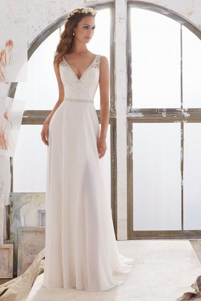 8831f399902 Classic wedding dress idea - sheath gown with lace bodice and simple skirt.  Style 5505 by  morileewedding