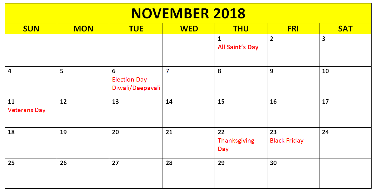 print monthly november 2018 calendar holidays