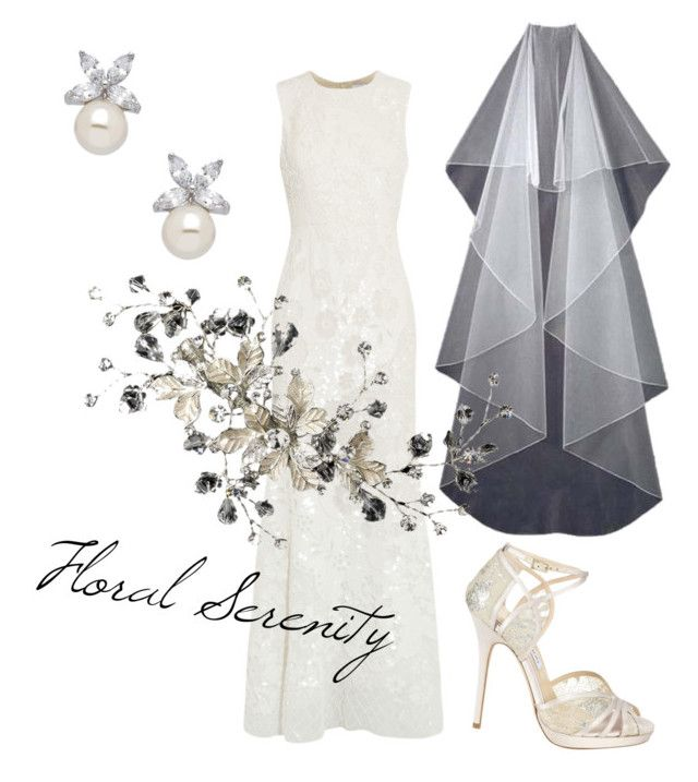 """Floral Serenity"" by distinctiveveils on Polyvore featuring Needle & Thread and Jimmy Choo"