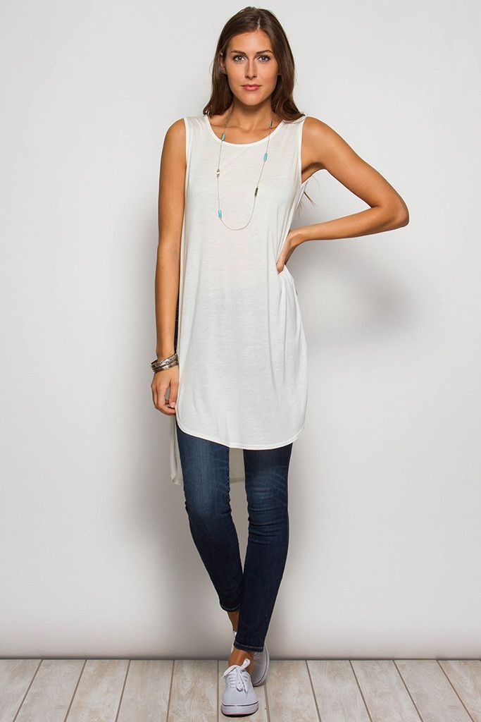 07ef84d85154f Sleeveless Tunic w  Side Slit and Sheer Back Contrast Fabric 60% Rayon 40%  Cotton