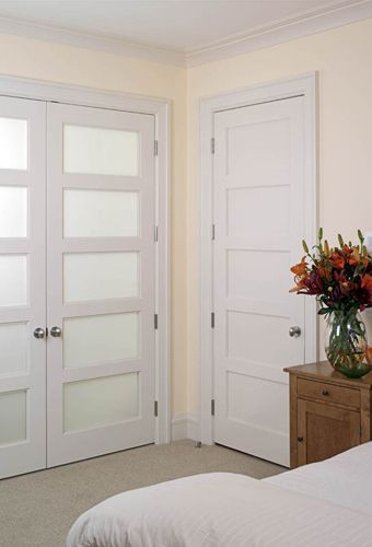 TruStile Interior MDF Panel Door And MDF Panel Double Door With Glass Panels