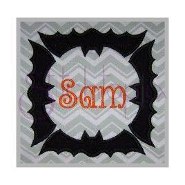 Halloween Bat Applique Frame Embroidery Fonts Halloween