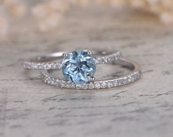 Elegant Aquamarine Wedding Ring Set, 6.5mm Round Cut Aquamarine Engagement Ring,Pave  Diamond Ring