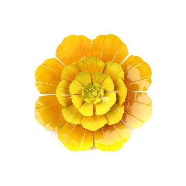 Yellow Flower Ombre Metal Wall Art ❤ liked on Polyvore featuring ...