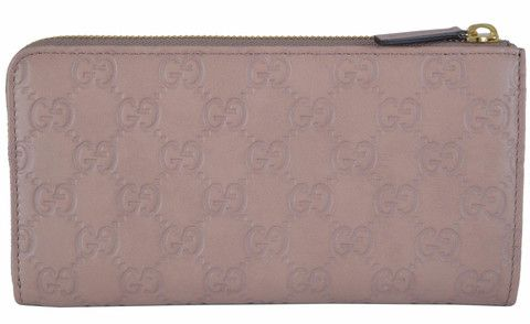 New Gucci Women's 332747 Cipria Rose Leather GG Guccissima Zip Around Wallet