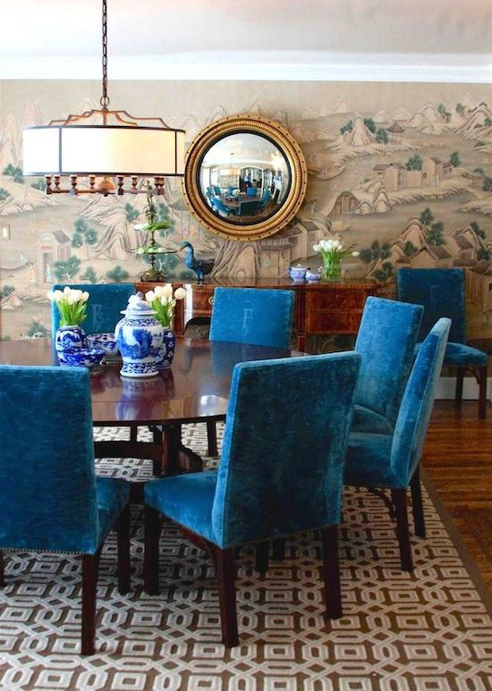 Blue Chairs | Dining Room | Wallpaper Pattern | Convex Mirror | Wall Decor  | Home