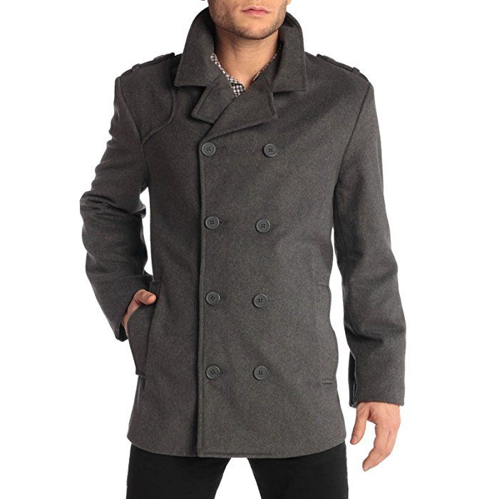 6766860ad2 Alpine Swiss Jake Mens Wool Pea Coat Double Breasted Jacket Gray SML ...