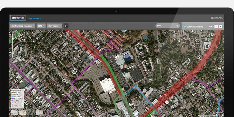 Streetlytics map on monitor