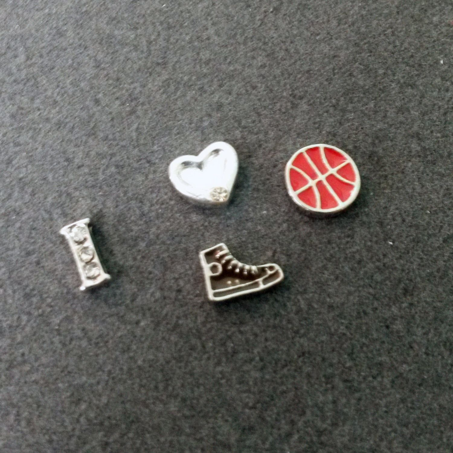 4 PC - Basketball Theme Enamel Silver Charm for Floating Locket Jewelry T0227
