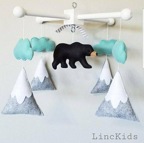 Baby Crib Mobile-black bear Mobile- mountain Crib Mobile-Northern ...