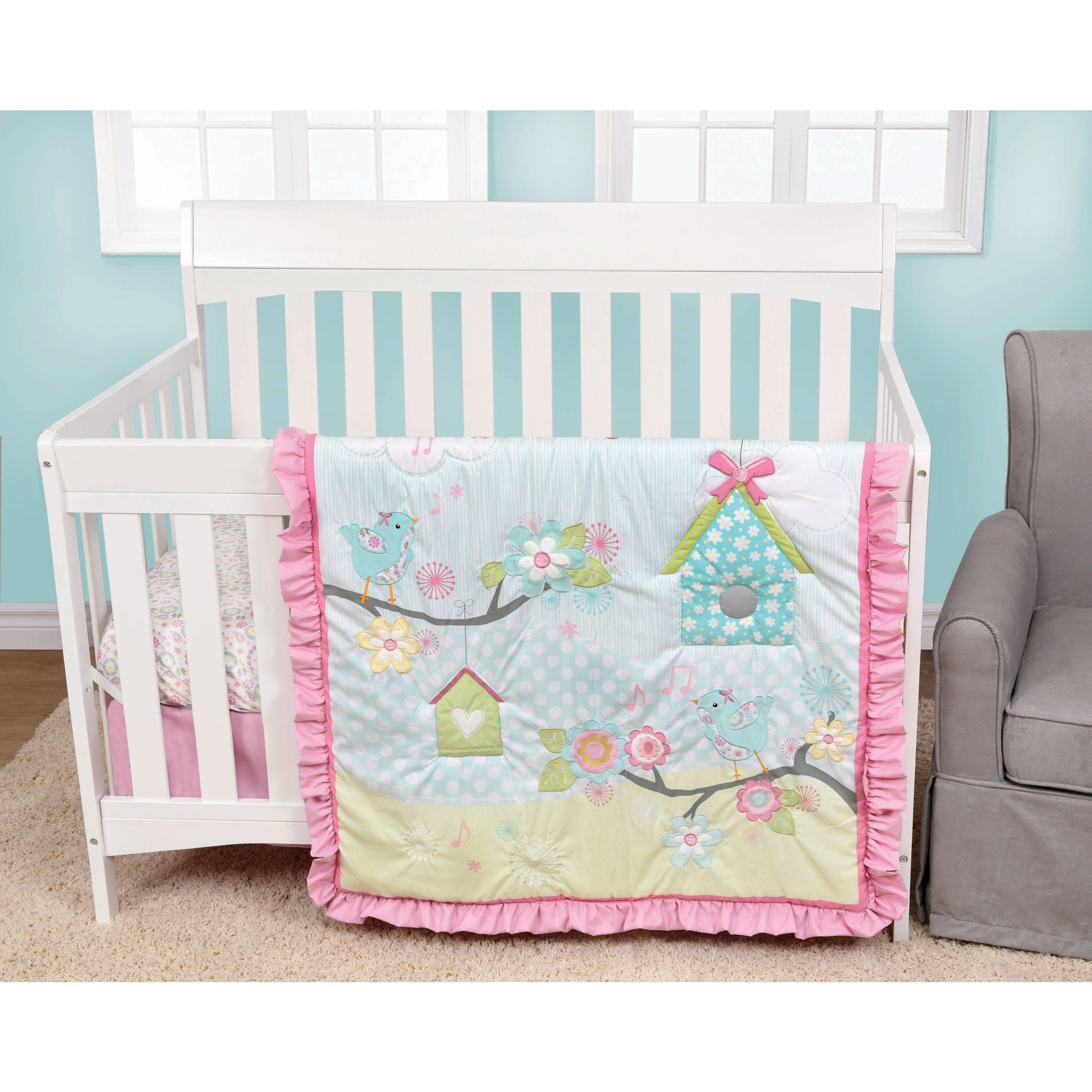 Decorate your baby girl's nursery with this four-piece bedding set. Coordinating wall decals are included to match the sheets and bedding, creating a comprehensive look in the room. Details: Set inclu