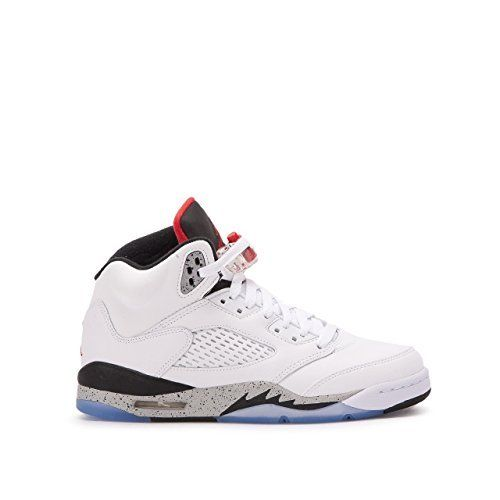 5126b90e79f Jordan Air 5 Retro BG White Cement kids casual sneakers white university  red-black New 440888-104 - 5.5