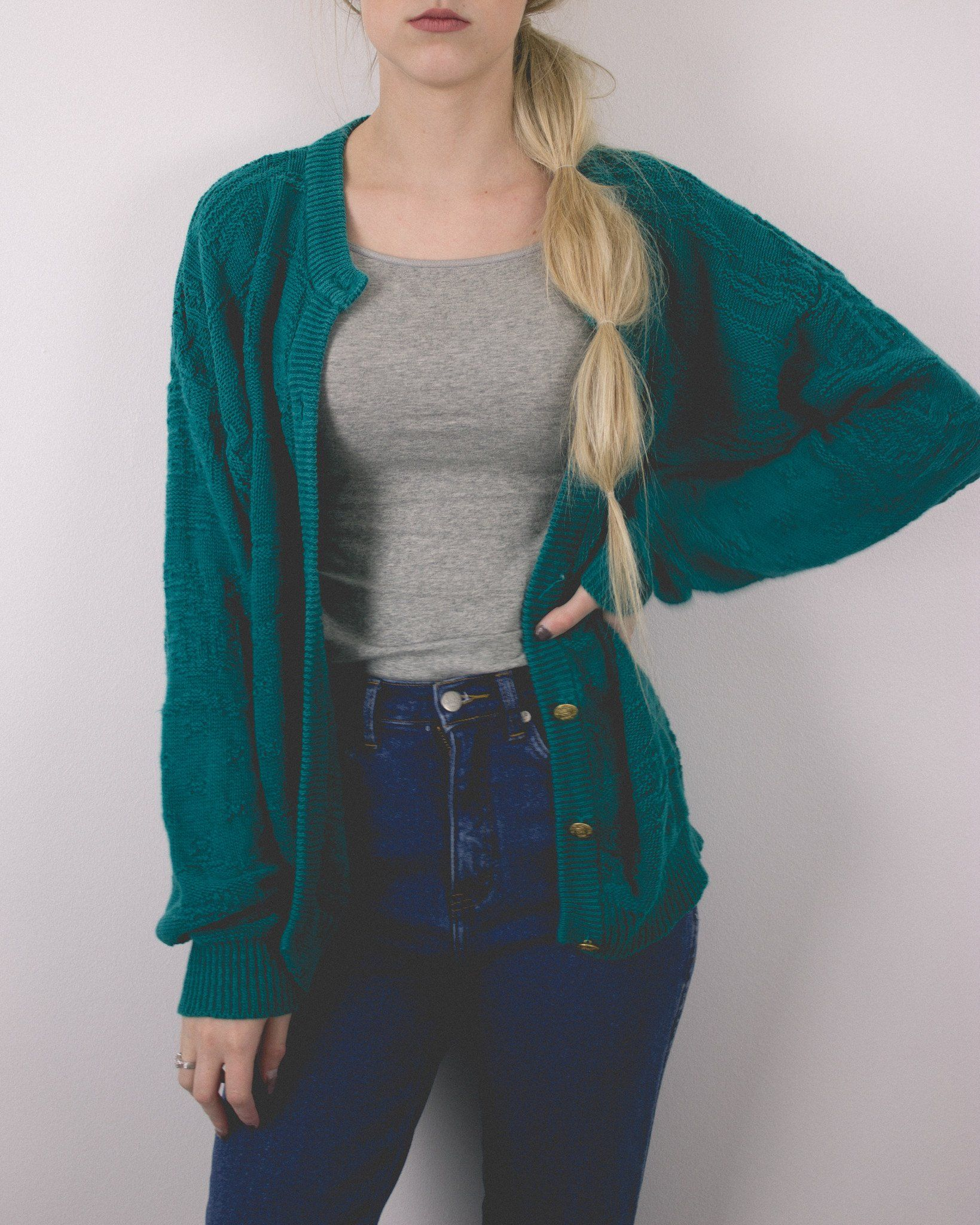 Vintage Teal Knit Cardigan Sweater - Mint Threads - 3