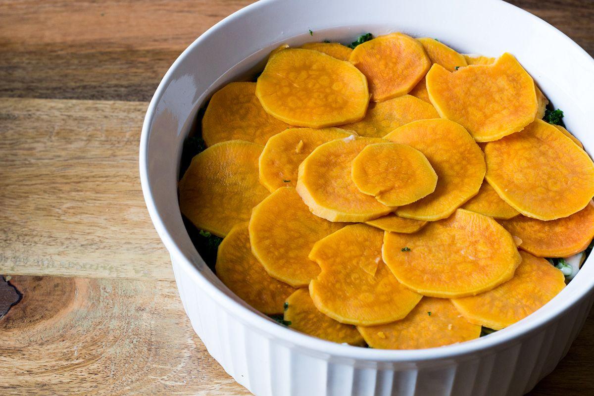 Gratin de patates douces et chou frisé | Natrel