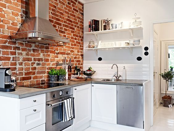 Lovely Scandinavian Kitchen With Brick Wall