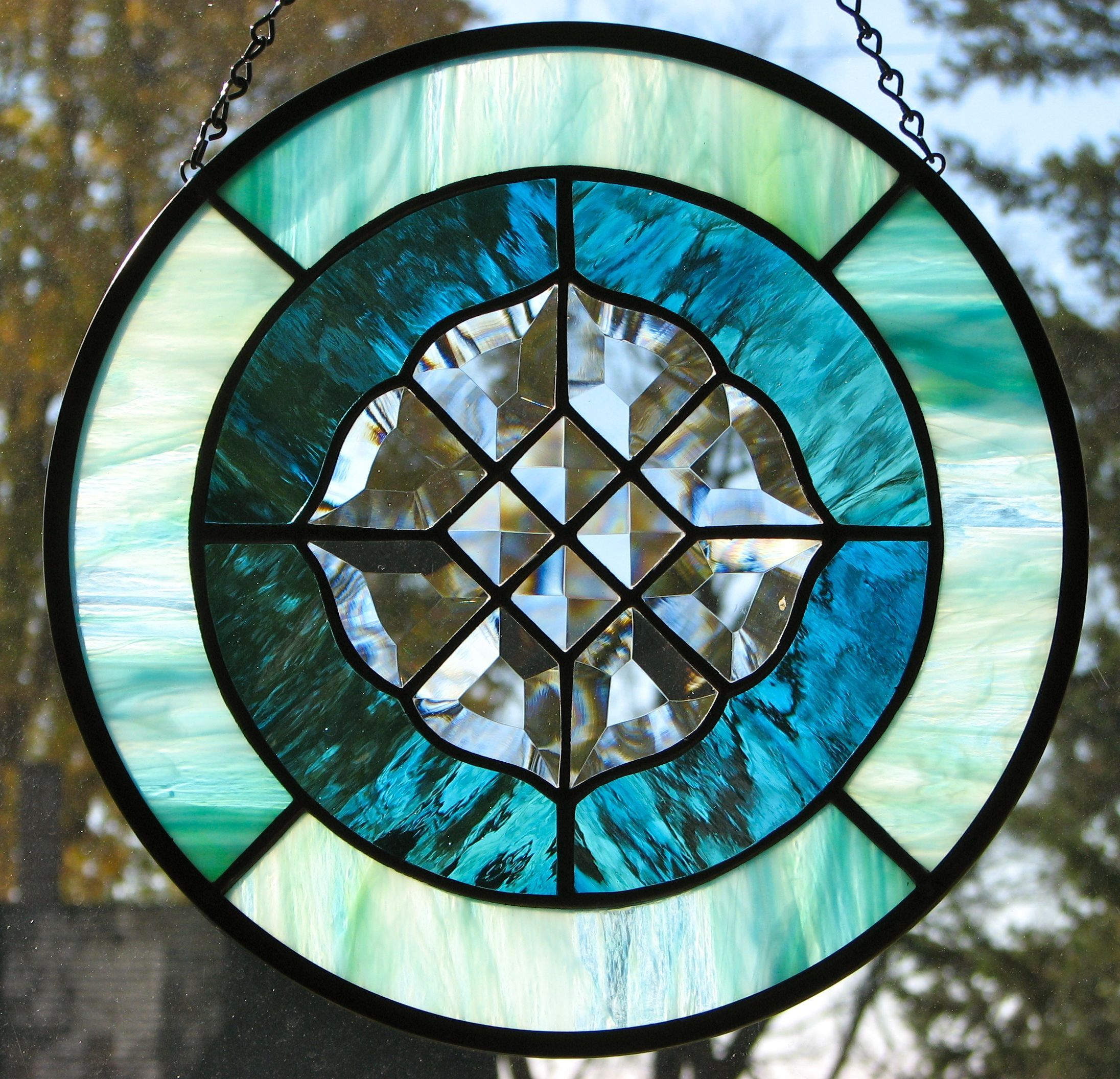 Stained glass panel with bevel cluster by Barbara's Glassworks