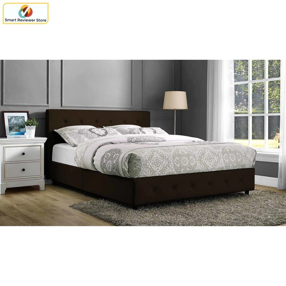 Upholstered Bed Frame Queen Size Modern Tufted Headboard Brown