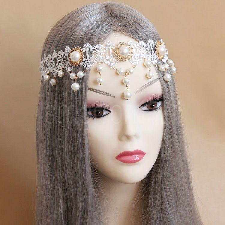 Handmade Pearl Lace Vintage HEADBAND Headpiece 1920s Wedding Bridal Party Gothic