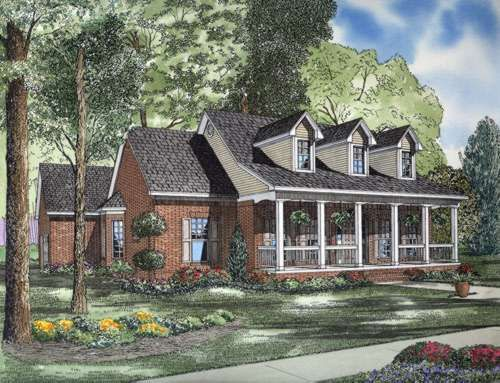Country Style House Plans - 2179 Square Foot Home , 2 Story, 3 Bedroom and 2 Bath, 2 Garage Stalls by Monster House Plans - Plan 12-597