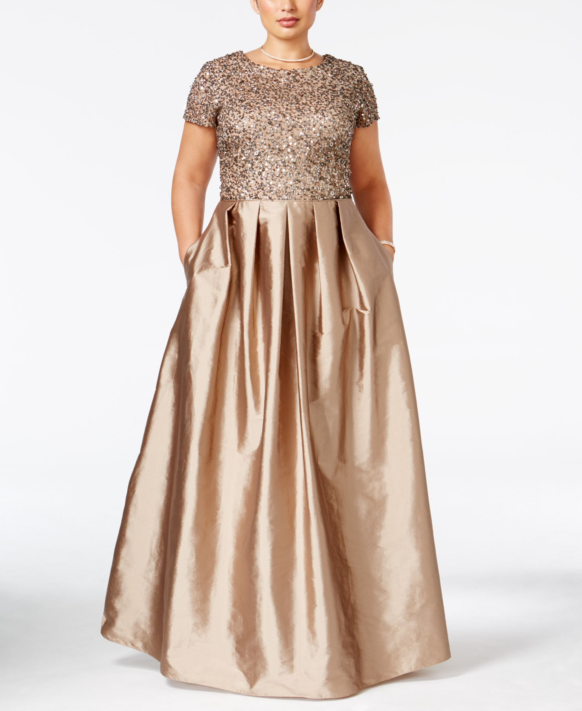 Adrianna Papell Plus Size Beaded A-Line Gown | Adrianna papell ...