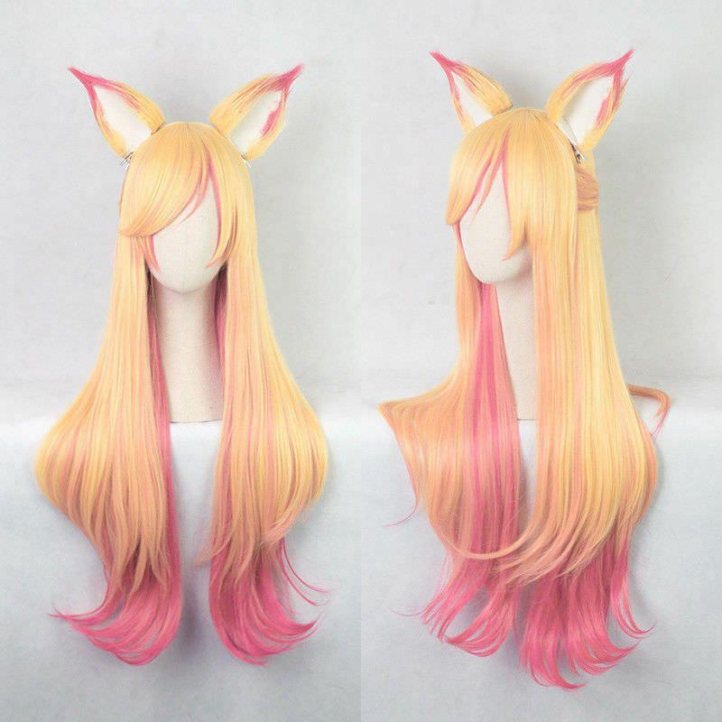 League of Legends LOL Ahri Gumiho Fox Star Guardian Cosplay Hair Wig Ear Game