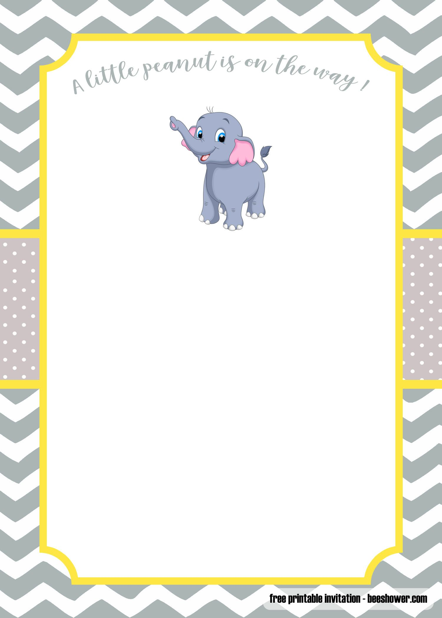 FREE Yellow and gray Little Peanut baby shower invitations  Free
