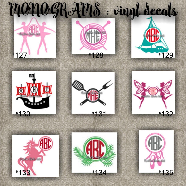 Monogram vinyl decals name initial decal sticker car decals car stickers laptop sticker 127 135