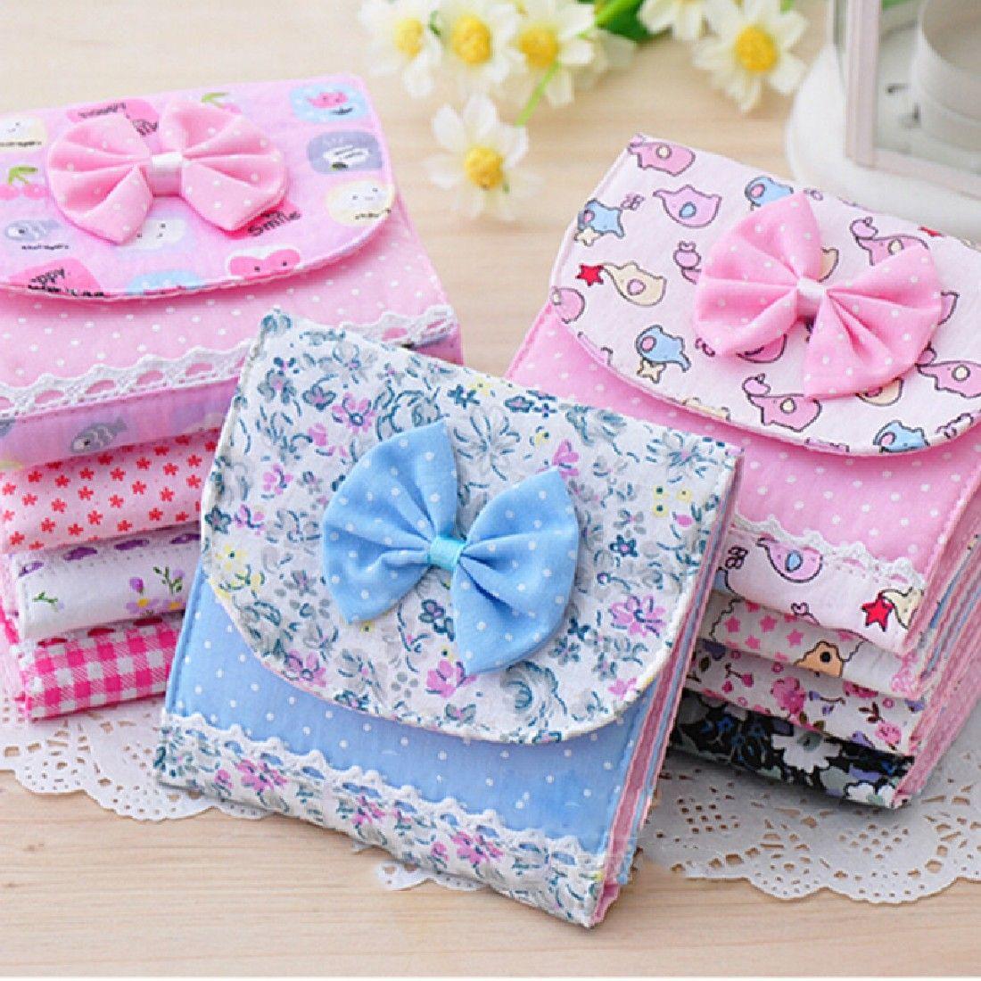 소녀 레이디 생리대 패드 여성 파우치 작은 미니 저장 상자 가방 작은 수집 케이스 가방 색상 임의 2016