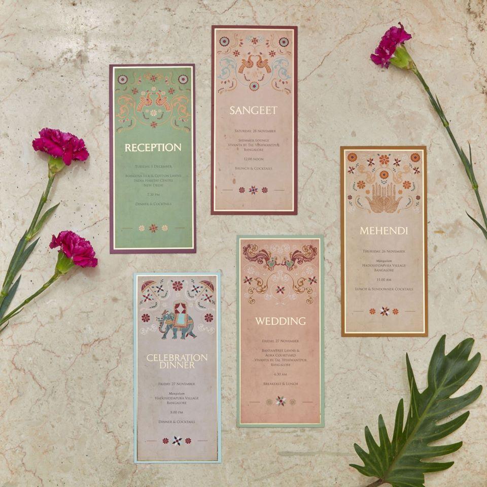 Multiple insert cards by Sketch Design Studio Bangalore – Studio Cards Wedding Invitations
