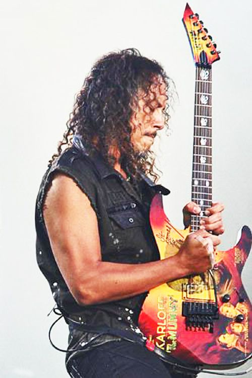 Kirk, lead guitarist for Metallica, plays his signature ESP Karloff
