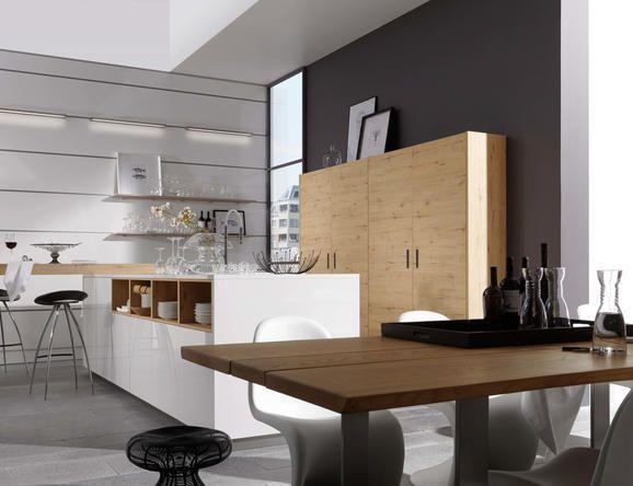 Artwood 22W - Wildeiche rustikal   Lux 361 - Weiß Hochglanz - küchenzeile weiß hochglanz