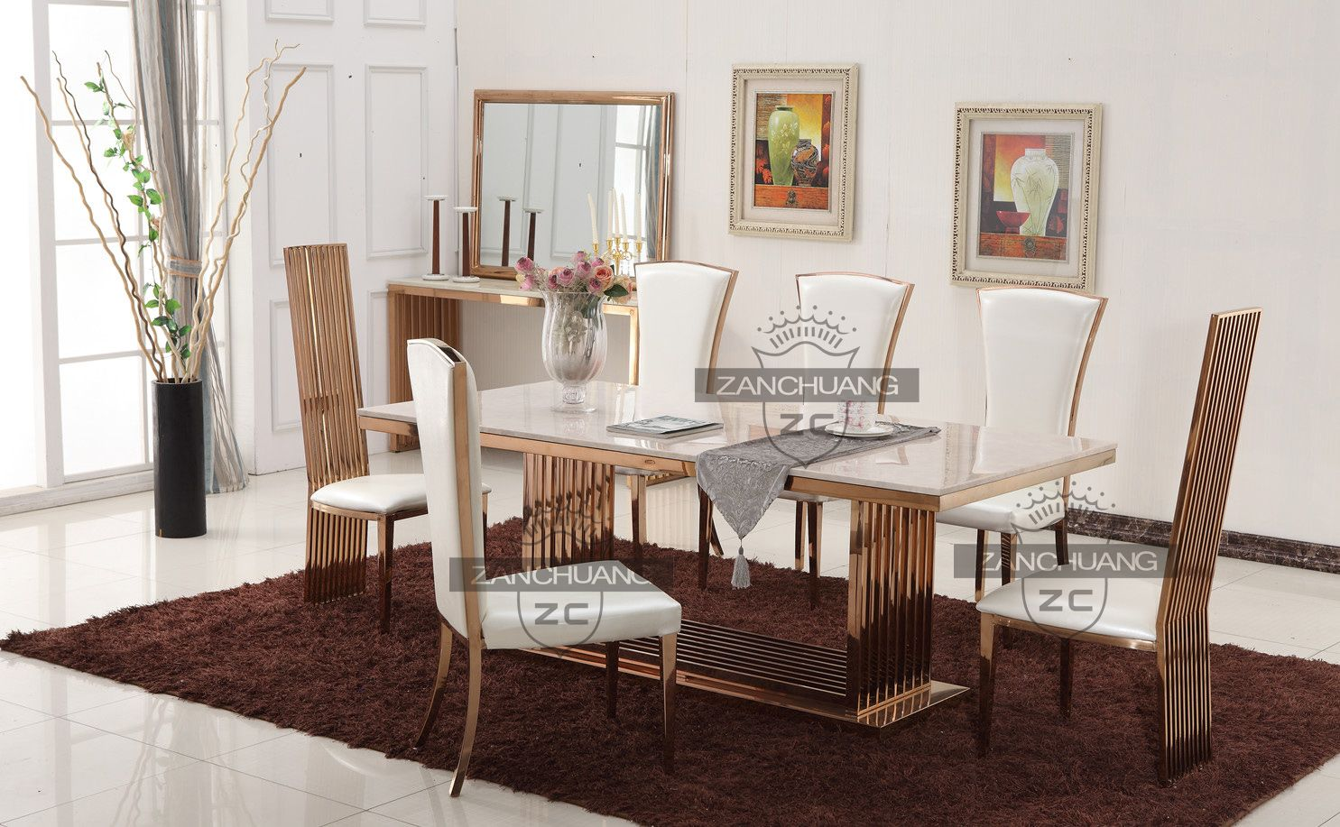 Rose Gold Stainless Steel Dining Table And Chair Set Dining