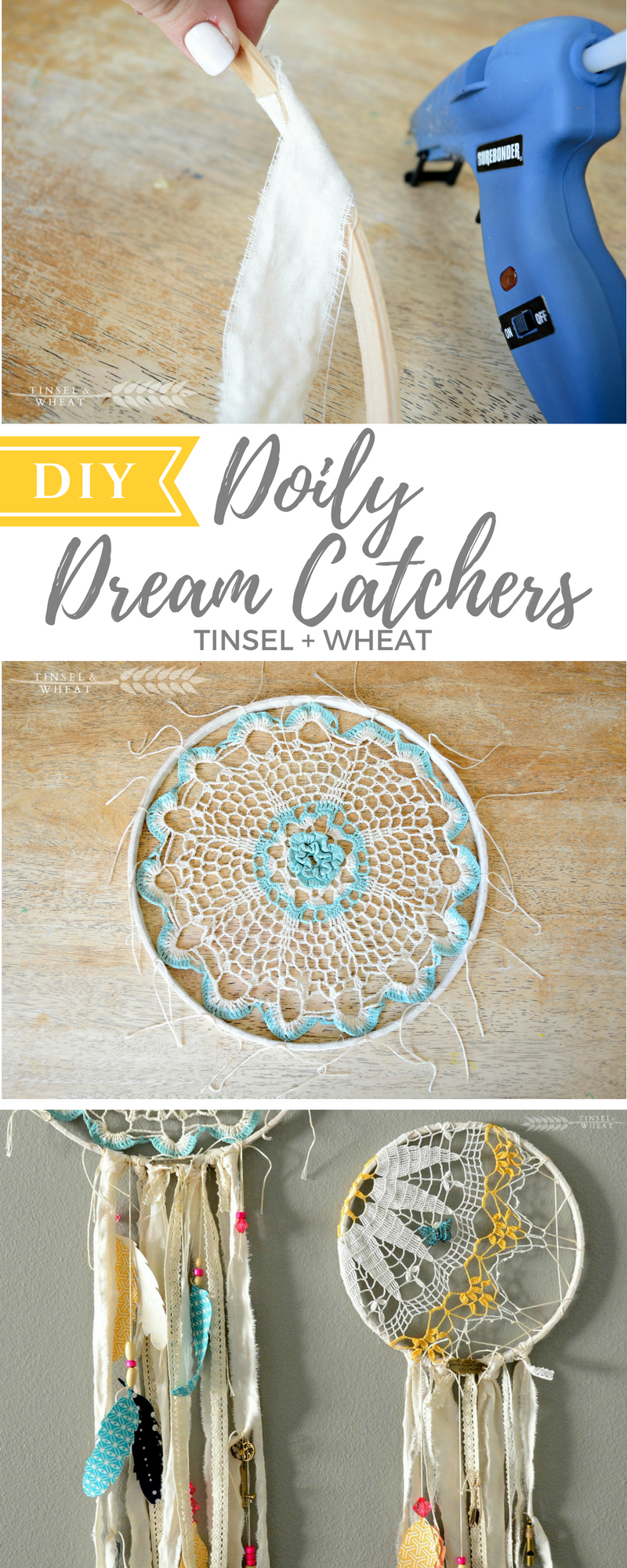 DIY Doily Dream Catchers. Great way to decorate with vintage doilies!