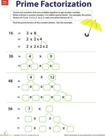 Prime Factorization Worksheet Education Com Prime Factorization Worksheet Prime Factorization Factors And Multiples