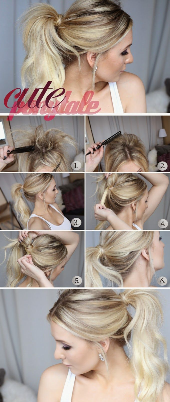 How to chic cute ponytail tutorial peinados pinterest