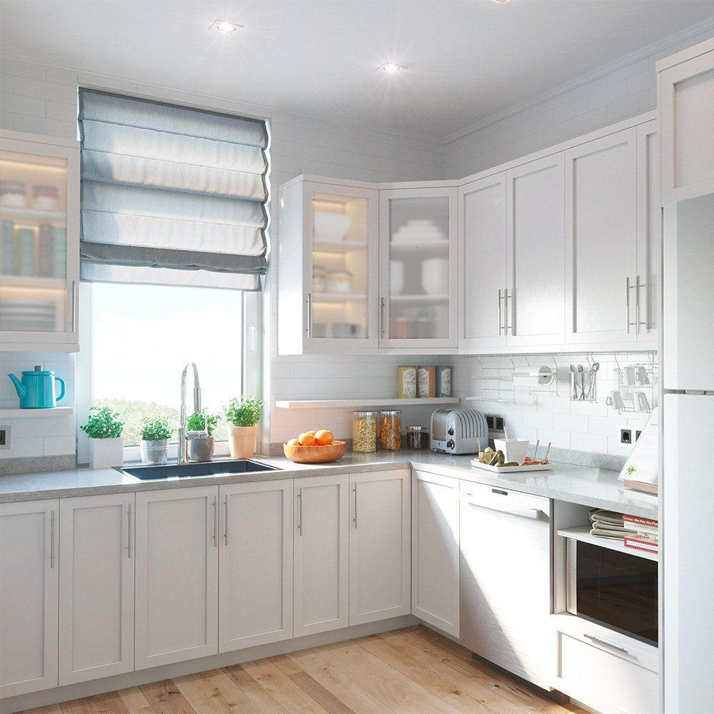 10' x 10' Matte white shaker style U-shaped kitchen set in ...