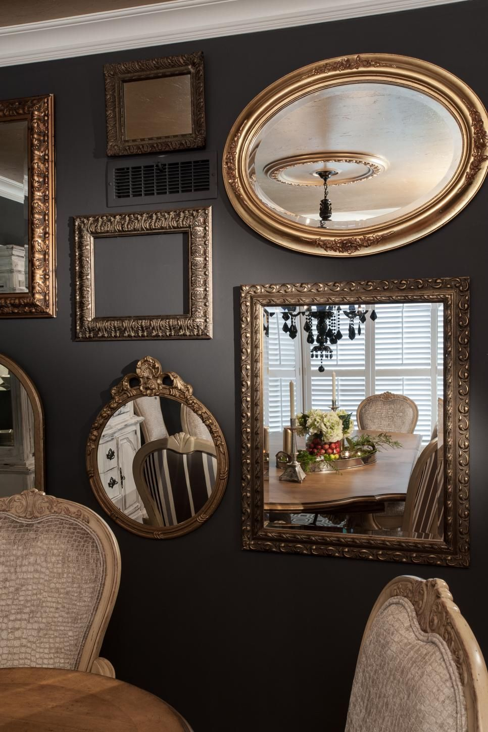 Mirror Gallery Wall In Traditional Gray Dining Room Mirror Gallery Wall Mirror Dining Room Mirror Wall Living Room