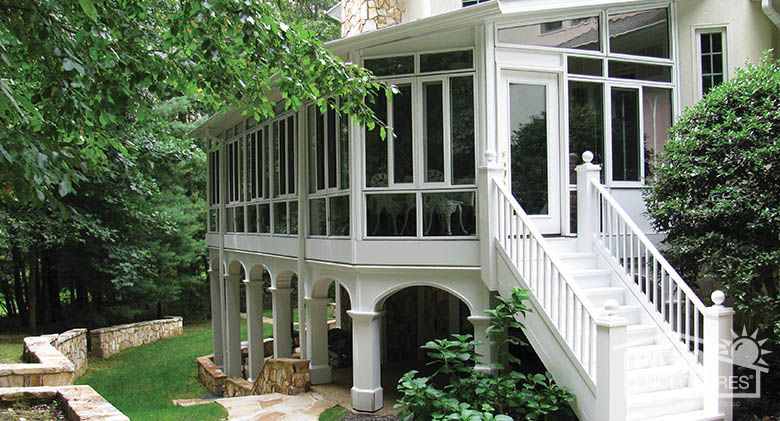 We adore this beautiful sunroom Built on the second level this