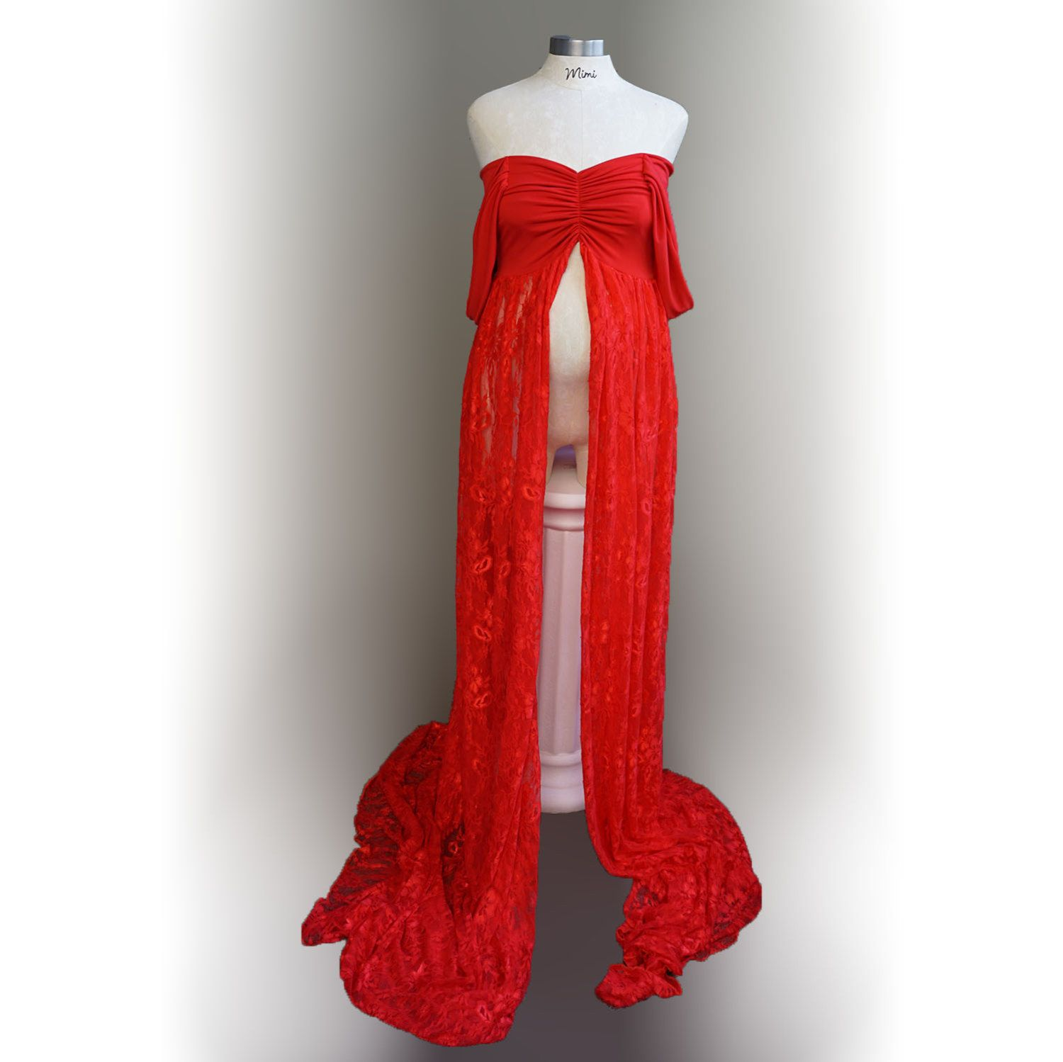 RED f Shoulder Stretch Open Closed Lace Maternity Dress