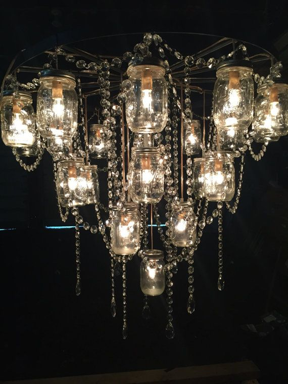 30 Wagon Wheel Mason Jar Chandelier For Pat By