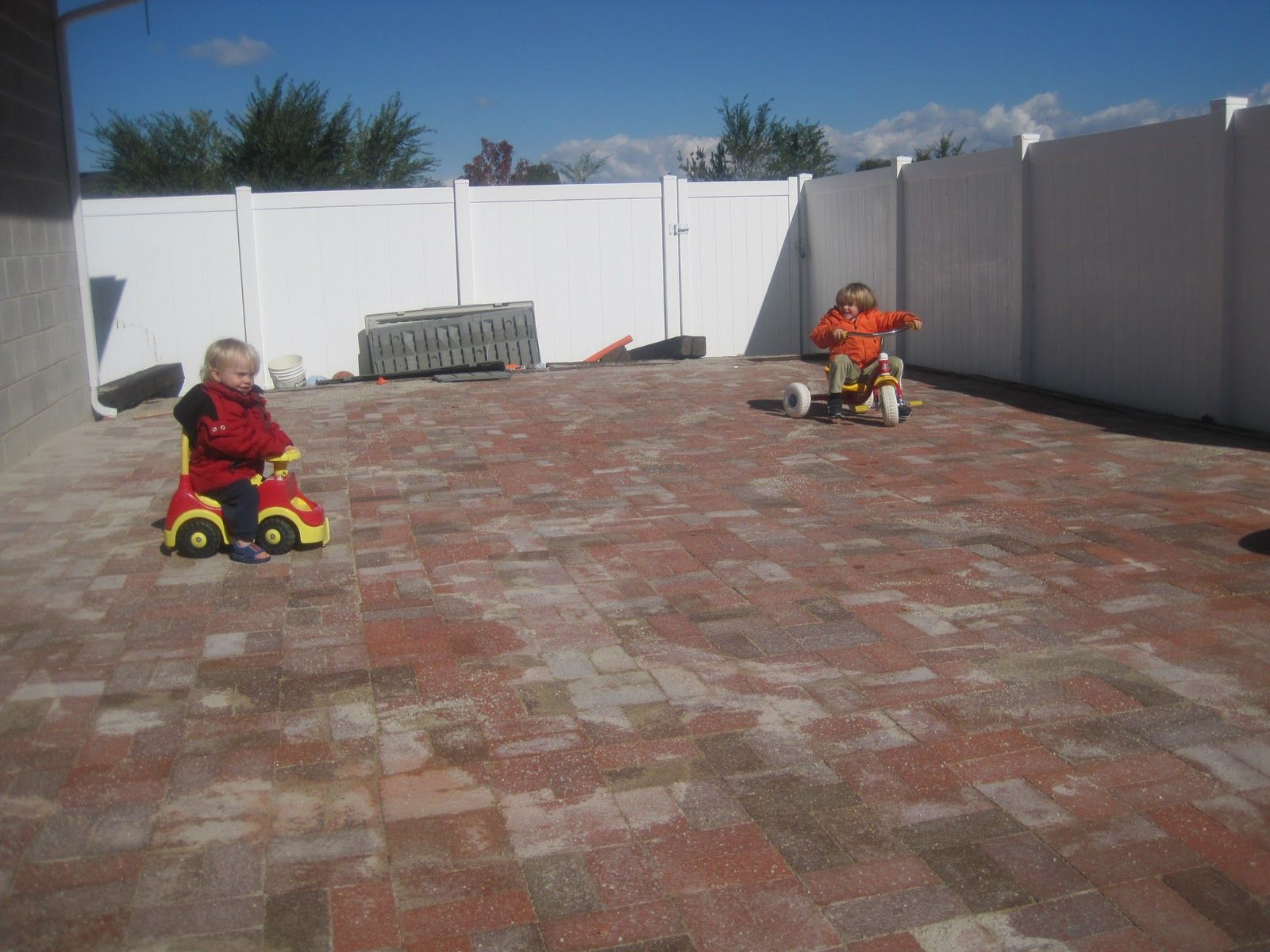 recycled concrete patio (that isn?t quite finished. We will paint