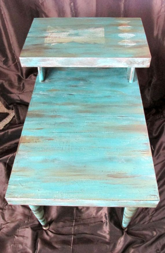 Mid Century Bi Level Hand Painted End Table by EclecticsoulsLLC, $85.00