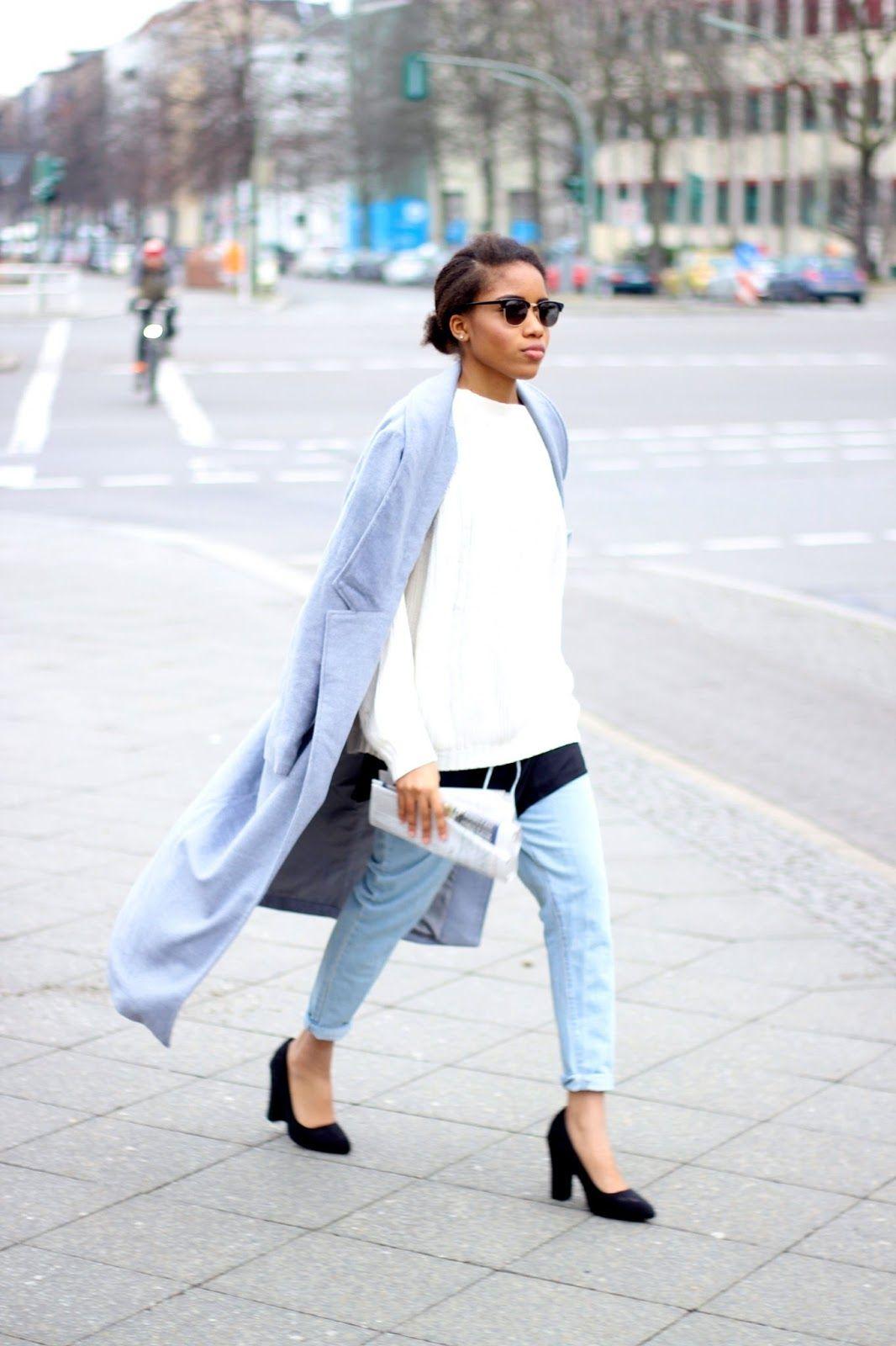 Bezaubernd Grauer Mantel Kombinieren Dekoration Von Outfit: Boyfriend Jeans Und Layer- Look, Boyfriend
