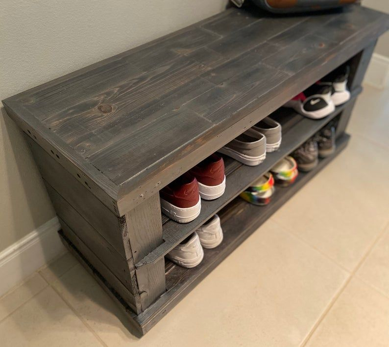 Reclaimed Wood Shoe Rack Bench Entryway Shoe Organizer Etsy Wood Shoe Rack Shoe Rack Furniture Bench With Shoe Storage