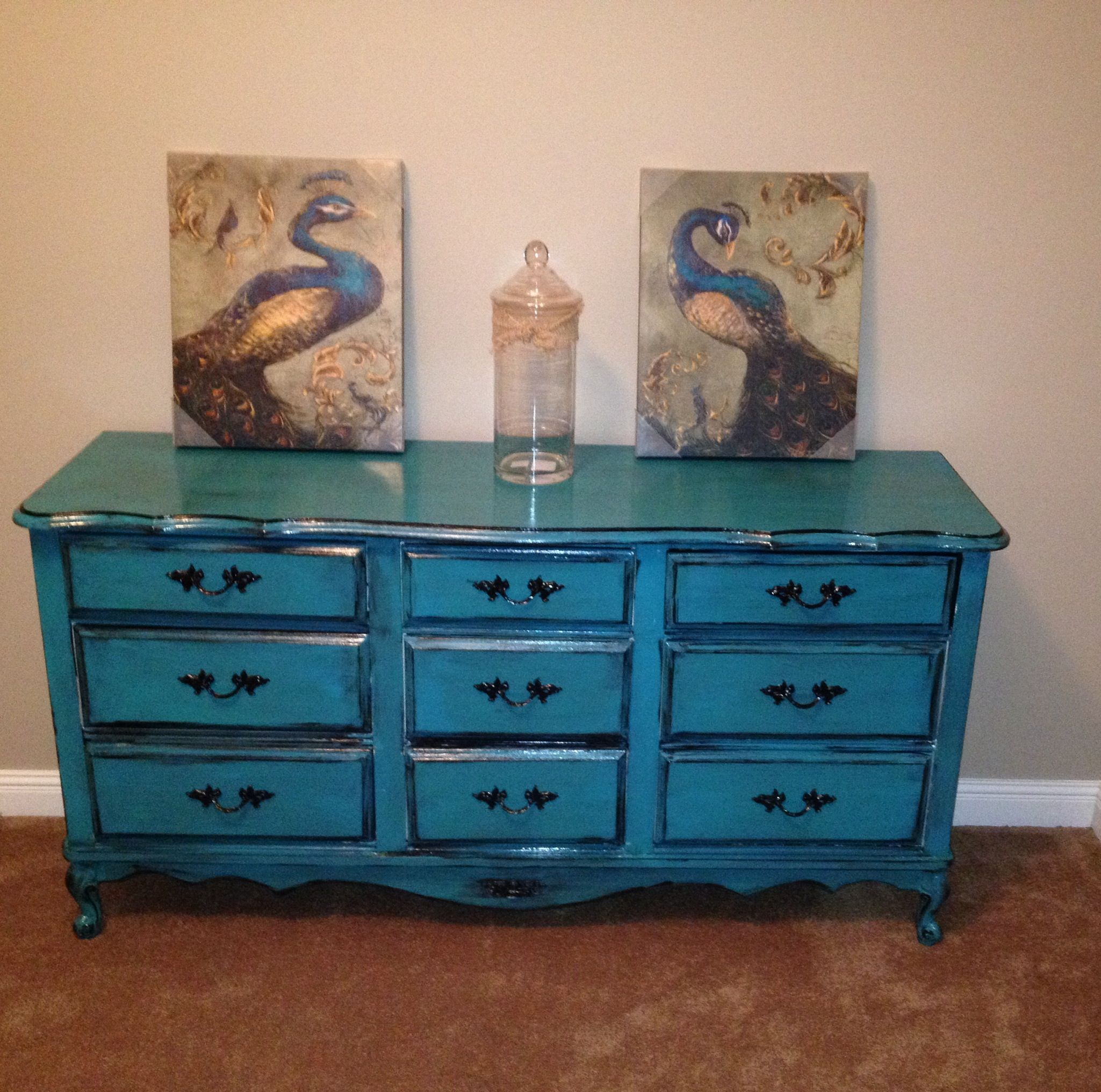 Turquoise French Provencial Dresser Painting Project