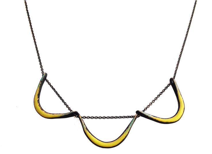 Boomerang Necklace in Chartreuse by Jenny Windler. Torch