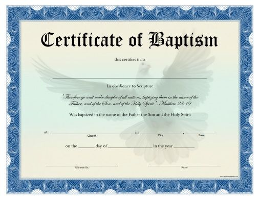 Printable Fillable Certificate of Baptism Printable Baptism - best of ordination certificate free