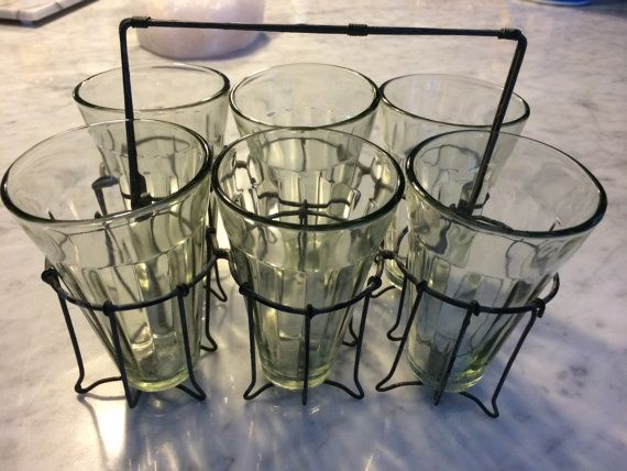 This is a great gift idea! Vintage Soda Shop & Wire Glass Drink Caddy by HitherAndYonEstate