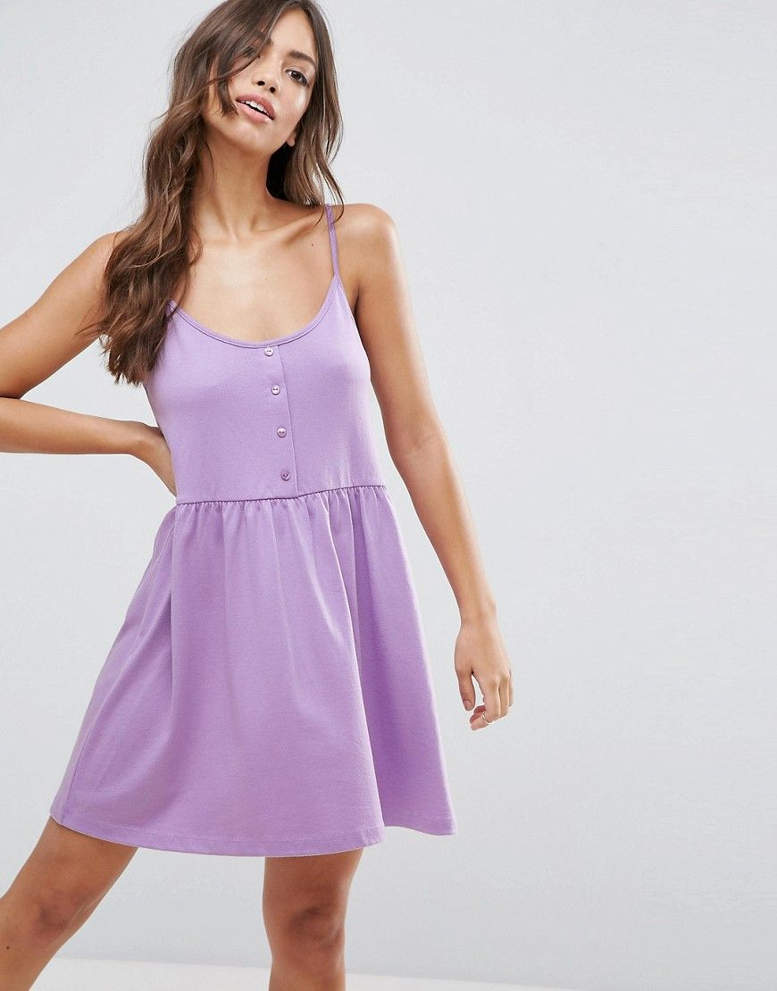 ASOS Cami Smock Dress with Button Placket - Purple | Cortlin ...