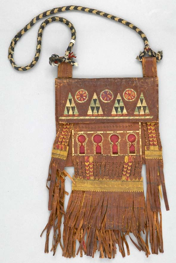 Leather Tuareg TASSEL Ethnic Tribal Ornament African Gift Fob Bag Purse Purple